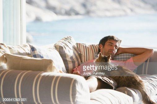 Man sleeping on sofa with cat : Foto de stock