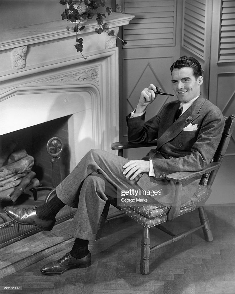 Man smoking pipe : Stock Photo