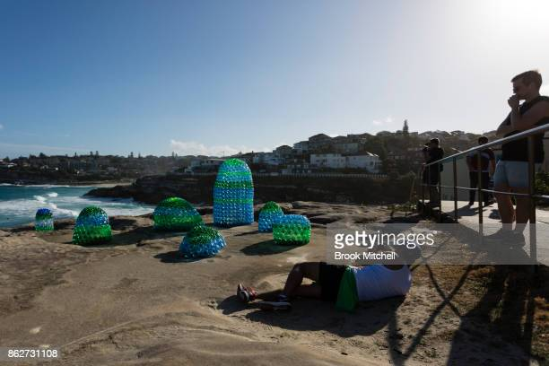 A man snaps a picture of the work 'Plastic Paradise' by Kathy Allam at Sculpture By The Sea at Bondi Beach on October 18 2017 in Sydney Australia