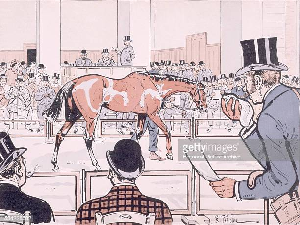A man sneezes into a handkerchief as a racehorse is paraded before potential buyers at an auction