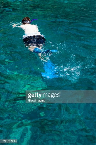Man snorkeling in the sea, Captain Cook's Monument, Kealakekua Bay, Kona Coast, Big Island, Hawaii Islands, USA : Foto de stock