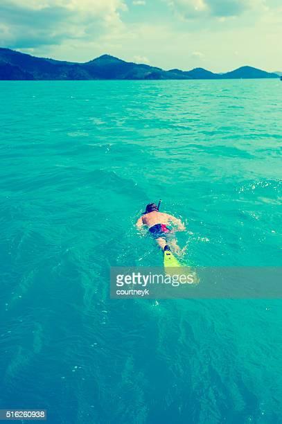 Man snorkelling.