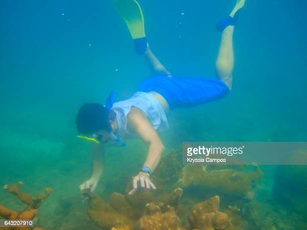 A man snorkels in the waters of Cahuita National Park, Costa Rica