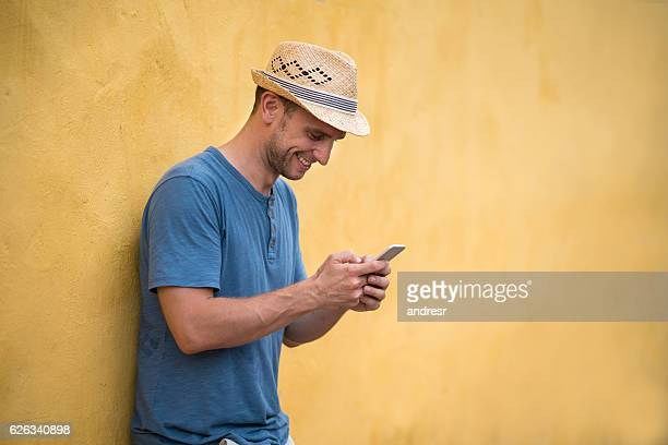 Man social networking while traveling