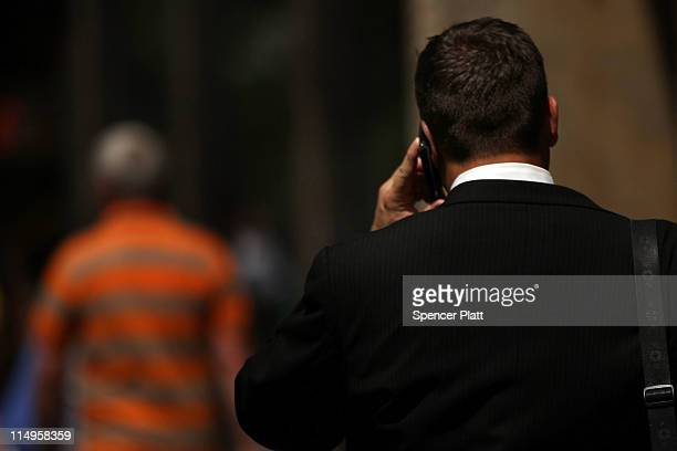 A man speaks on his mobile phone on May 31 2011 in New York City In a new report by 31 scientists meeting at the World Health Organization's...