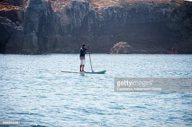 A man stand up in a paddle surf on Tarifa Cadiz Spain