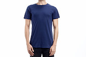 blue navy man standard tshirt mockup with flat white background
