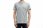 heather grey man standard tshirt mockup with flat white background