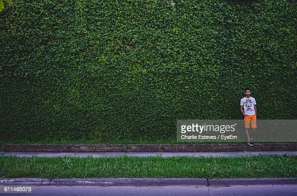 Man Standing Against Wall Covered With Plants