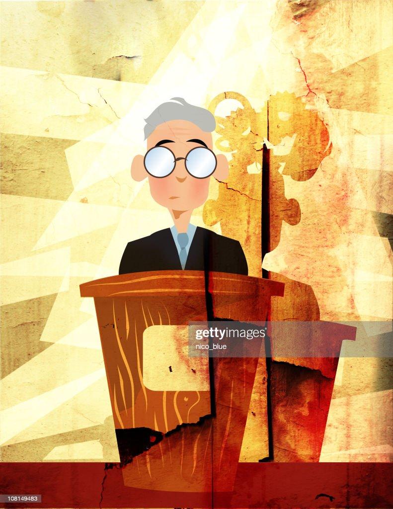 Uomo in piedi sul podio : Foto stock