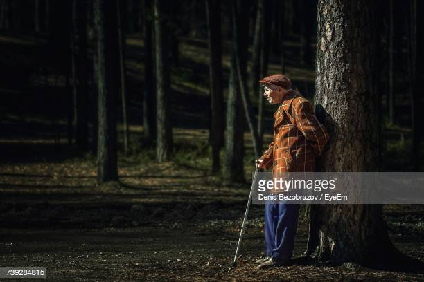 Man Standing By Tree Trunk