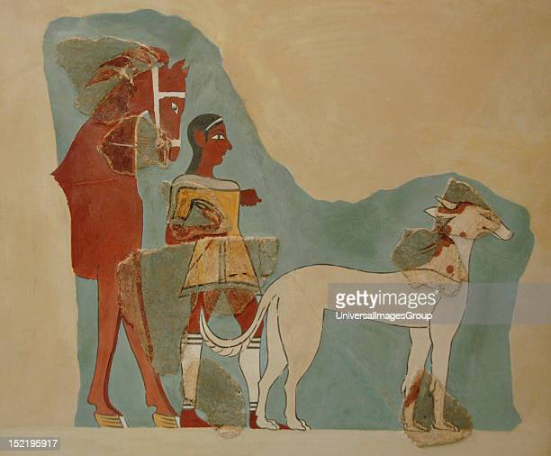Man standing holding the reins of a horse with a dog before Fresco dated between 14th and 13th century BC Second palace of Tiryns National...