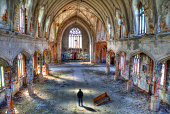 Man standing in abandoned church