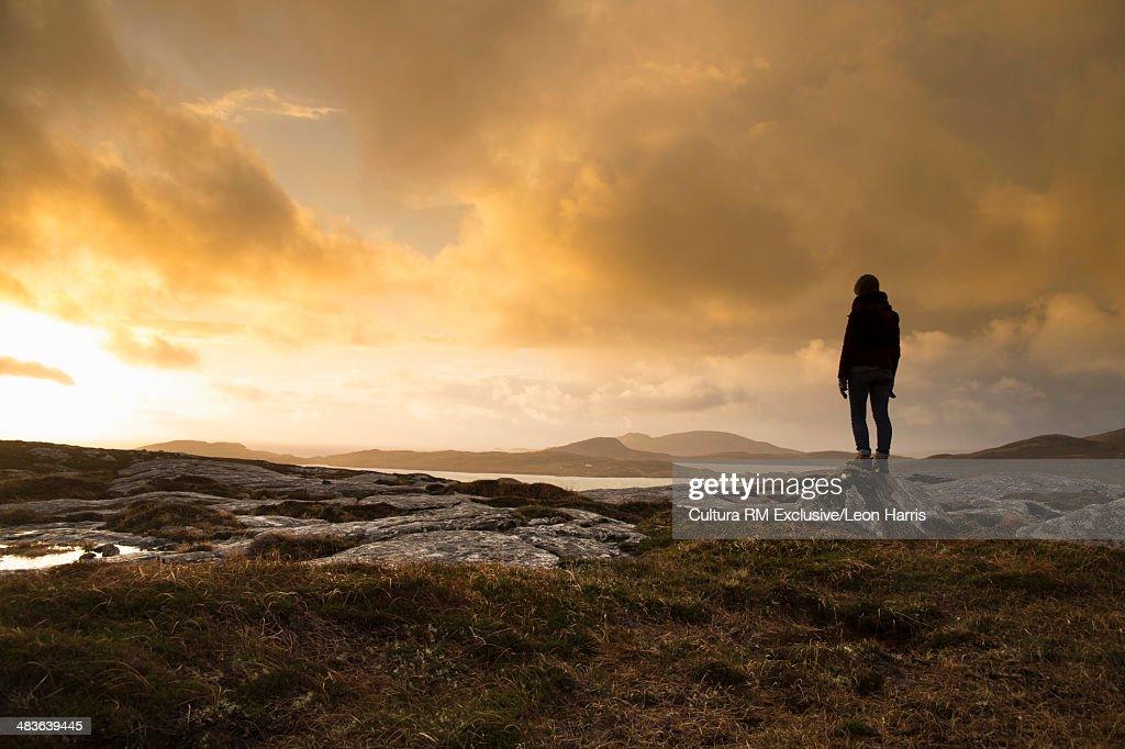 Man standing in Barra, Hebrides