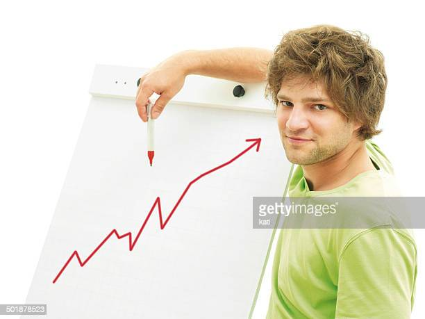 Man standing in front of a flip chart with a rising rate