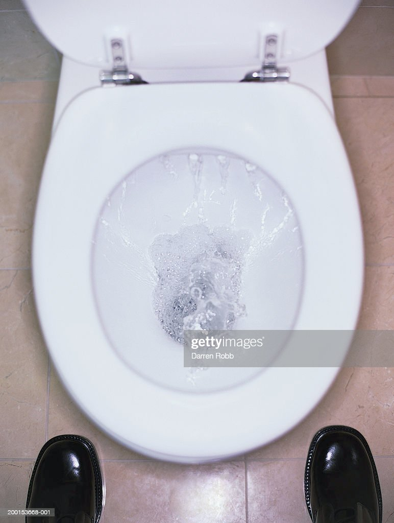 Man standing in front of flushing toilet, elevated view