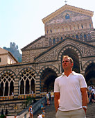 Man standing in front of The Cathedral of Amalfi