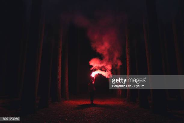 Man Standing In Illuminated Fire At Night