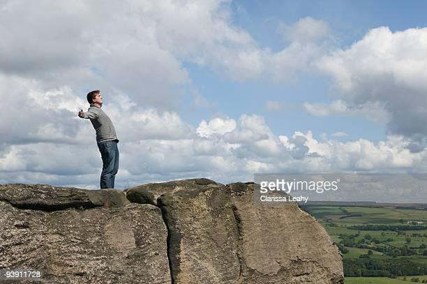 Man standing in wind
