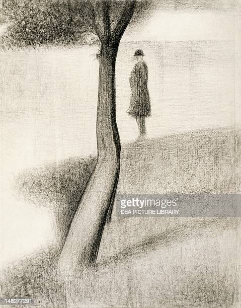 Man standing next to a tree study on La Grande Jatte 18841885 by Georges Seurat pencil on paper Wuppertal Von Der HeydtMuseum