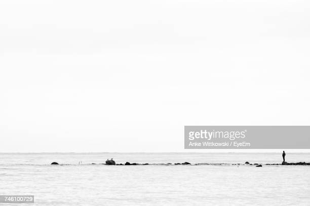 Man Standing On Rock At Beach Against Clear Sky