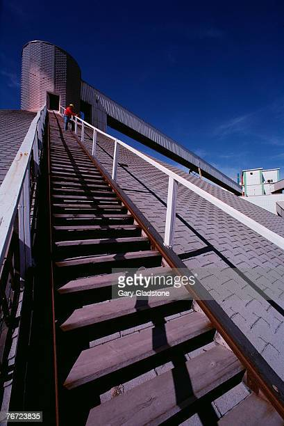 Man standing on rooftop stairway