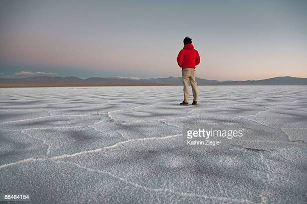 man standing on salt flat looking into distance