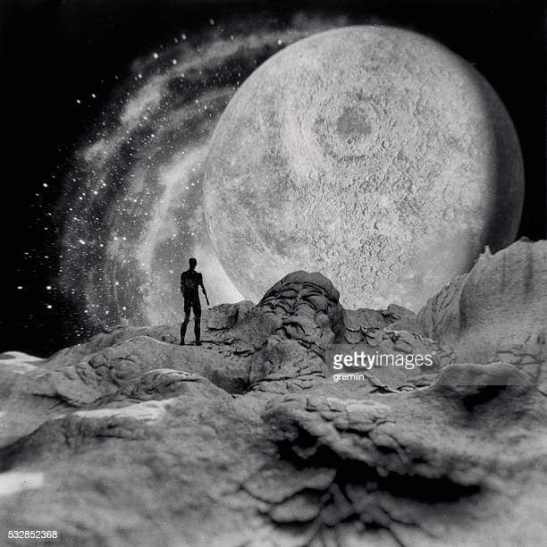 Man standing on the planet, Moon