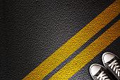 Yellow line on the asphalt