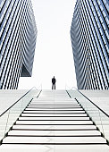 Man standing on top of stairs
