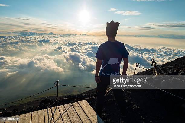 Man standing top of M't Fuji