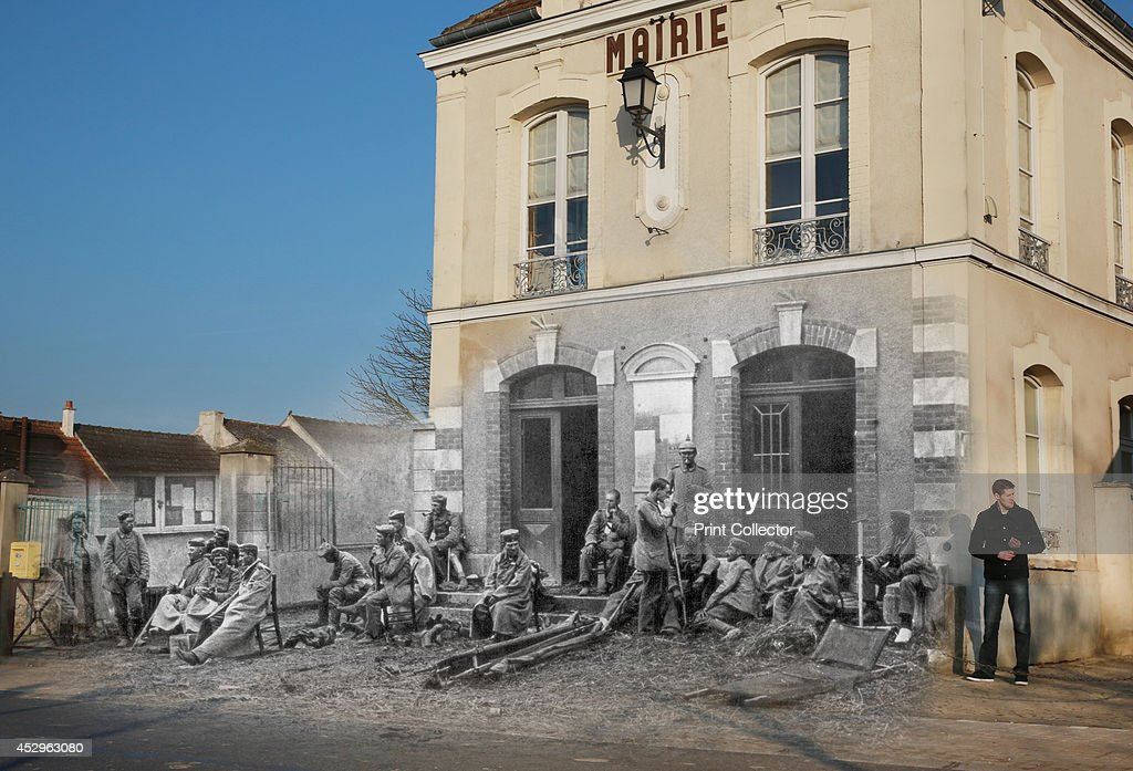 In this composite image a comparison has been made of Vareddes town hall. Commemorations of The First World War Centenary begin in 2014 and will last until 2018. A man stands near Vareddes town hall on March 12, 2014 in Vareddes, France. A number of events will be held this year to commemorate the centenary of the start of World War One. German troops sitting on the steps of the Vareddes Town Hall, France, 1914. German soldiers taking a rest during the First Battle of the Marne. German troops sitting on the steps of the Vareddes Town Hall, France, 1914. German soldiers taking a rest during the First Battle of the Marne.