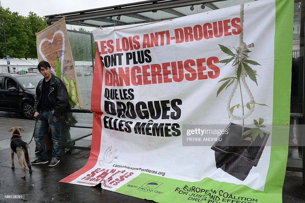 A man stands next to a bus stop on which is attached a giant poster reading 'drug prohibition laws are more dangerous than drugs themselves' as people take part in a protest to call for the legalization of marijuana on May 10, 2014 in Paris. About 147 million people globally -- or about 2.5 percent of the population -- use cannabis, according to the World Health Organization.