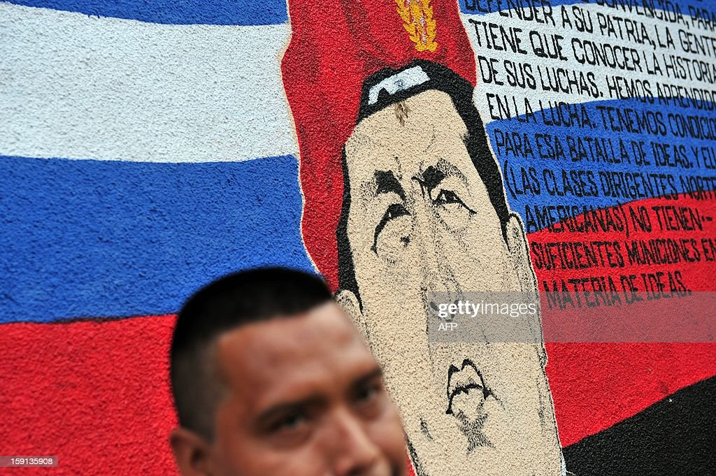 A man stands next to a mural portraying Venezuelan President Hugo Chavez in Managua on January 8, 2013. The President of the Venezuelan National Assembly Diosdado Cabello announced today that due to health reasons, Chavez will not be able to take the oath to be sworn in for a fourth term in office next January 10. A constitutional fight intensified with the government planning a massive show of support in the streets on the day he is supposed to be sworn in. Chavez, who underwent his fourth round of cancer surgery in Havana nearly a month ago, is suffering from a severe pulmonary infection that has resulted in a respiratory insufficiency.AFP Photo/Hector RETAMAL