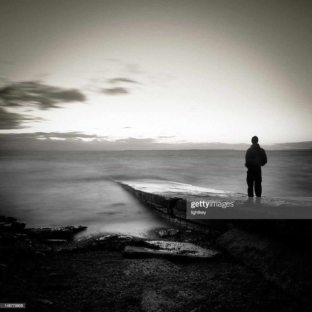 Man staring at the fantastic view : Stock Photo