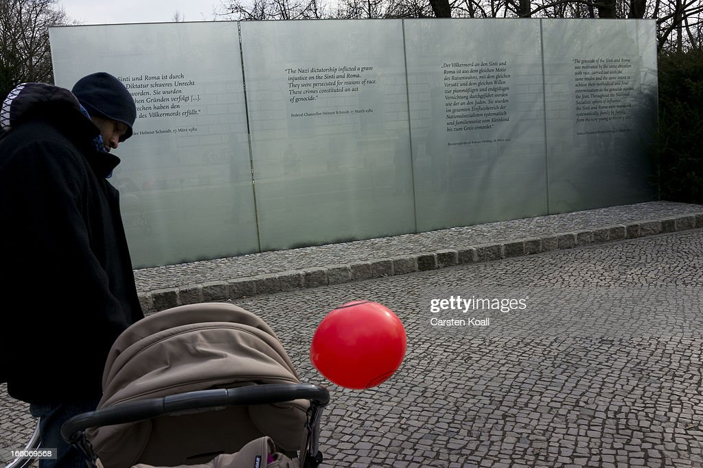 A man stays in front of the Memorial for under Nazism murdered Sinti and Roma of Europe as ethnic Roma protest against discrimination against Roma on International Roma Day on April 8, 2013 in Berlin, Germany. Western Europe has experienced a large influx of Roma, who are also called Gypsies, from Romania and Bulgaria in recent years following the accession of the two countries to the European Union. Restrictions on the rights of Romanian and Bulgarian citizens to work in the EU are scheduled to end at the end of 2013.