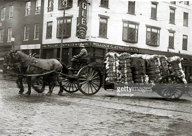 A man steers a pair of horses across a cobblestone street as they deliver bales of cotton going to a mill Fall River Massachusetts 1916