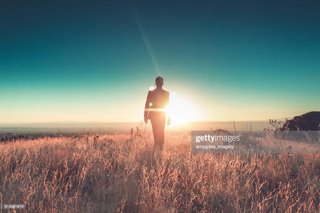 man sun business suit nature landscape : Stock Photo