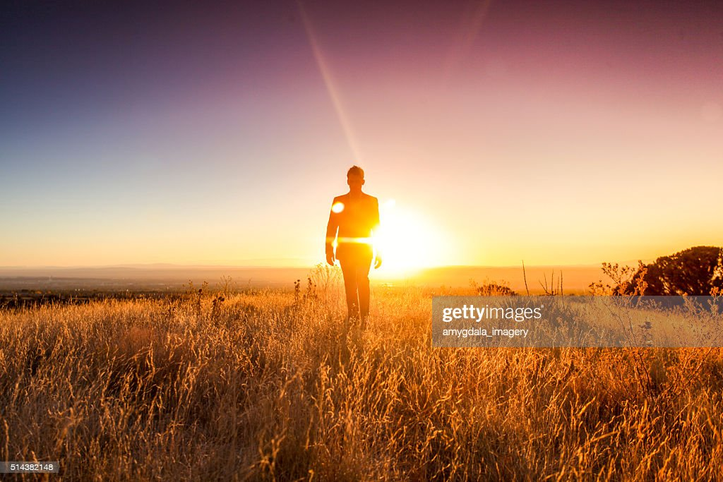 man sun business suit nature landscape : Stock Photo
