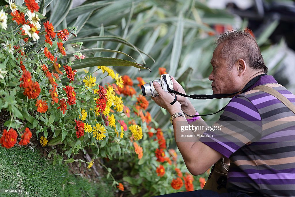 A man takes a close up photograph of a flower display at the Sentosa Flowers exhibition at Palawan Beach on February 11, 2013 in Singapore. Millions of spring flowers decorate the island in celebration of the Chinese New Year, the year of the Snake.