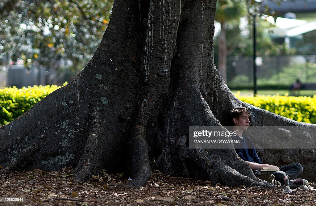 A man takes a nap under a tree in Victoria Park in Sydney on December 30, 2012. A recent report shows Sydney's ranking has consistently placed in the top 10 liveable cities in the world, scoring well for having low pollution levels and abundant green spaces. AFP PHOTO/MANAN VATSYAYANA