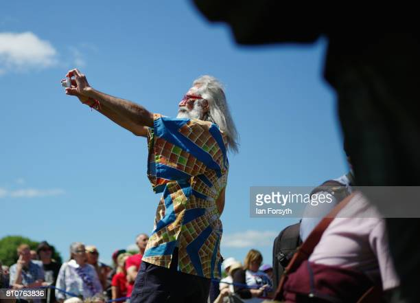 A man takes a selfie in front of the main stage during the 133rd Durham Miners Gala on July 8 2017 in Durham England Over two decades after the last...