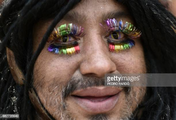 A man takes part in the Lesbian Gay Bisexual Transsexual and Transgender Pride Parade in Iztapalapa in Mexico City on May 13 2017 / AFP PHOTO / Pedro...