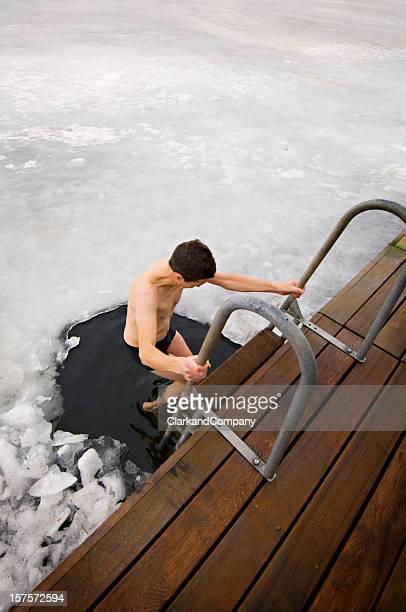 Man Taking A Dip In The Frozen Sea