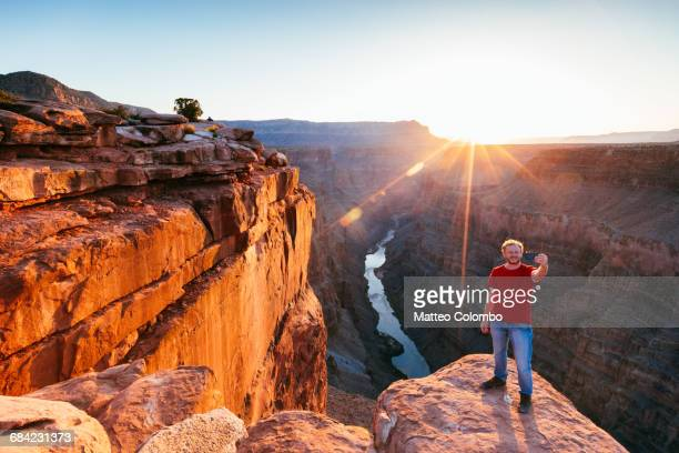 Man taking a selfie at Grand Canyon, USA