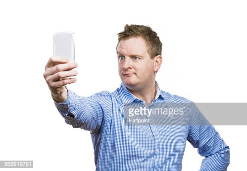 Man taking selfie of himself : Stock Photo
