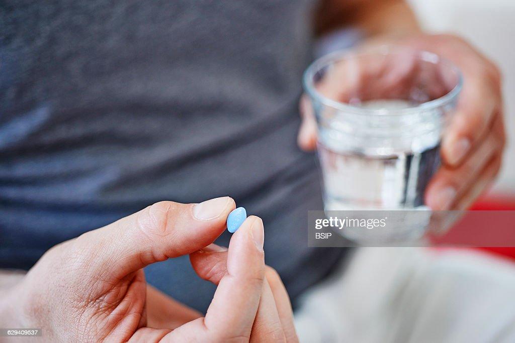 Man taking viagra
