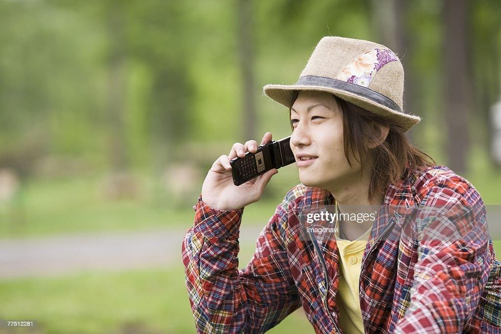 Man Talking on a Cellular Phone : Stock Photo