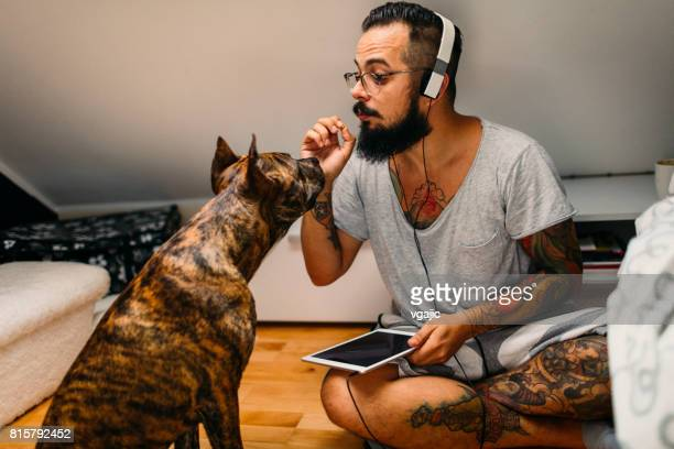 Man talking with his dog