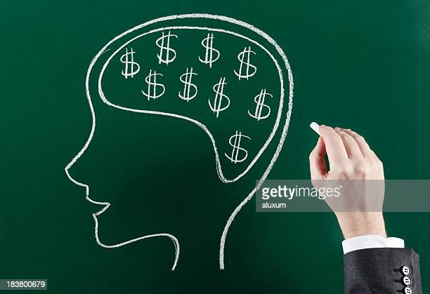 Man thinking about money illustration